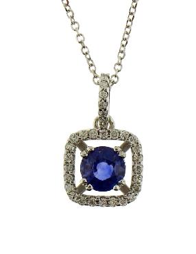 de378f7f421 Jewelry. Ladies 14K white gold  natural sapphire   diamond pendant.